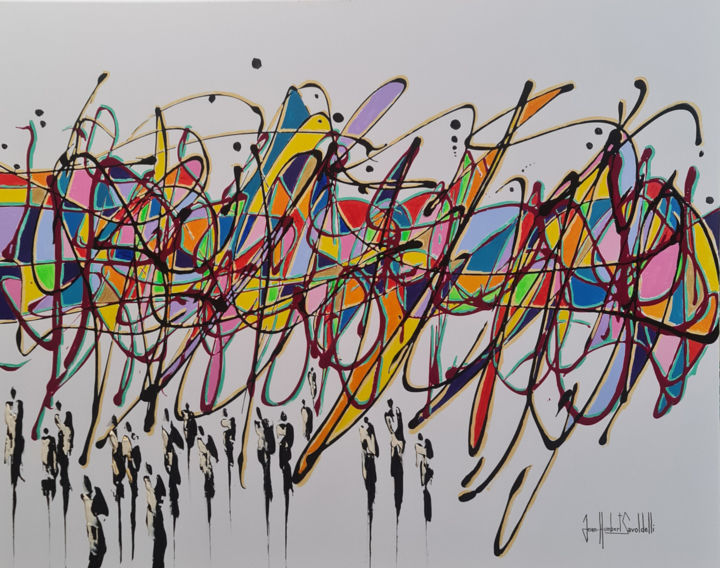 """Painting titled """"TECHNICOLOR"""" by Jean-Humbert Savoldelli, Original Art, Acrylic Mounted on Stretcher frame"""