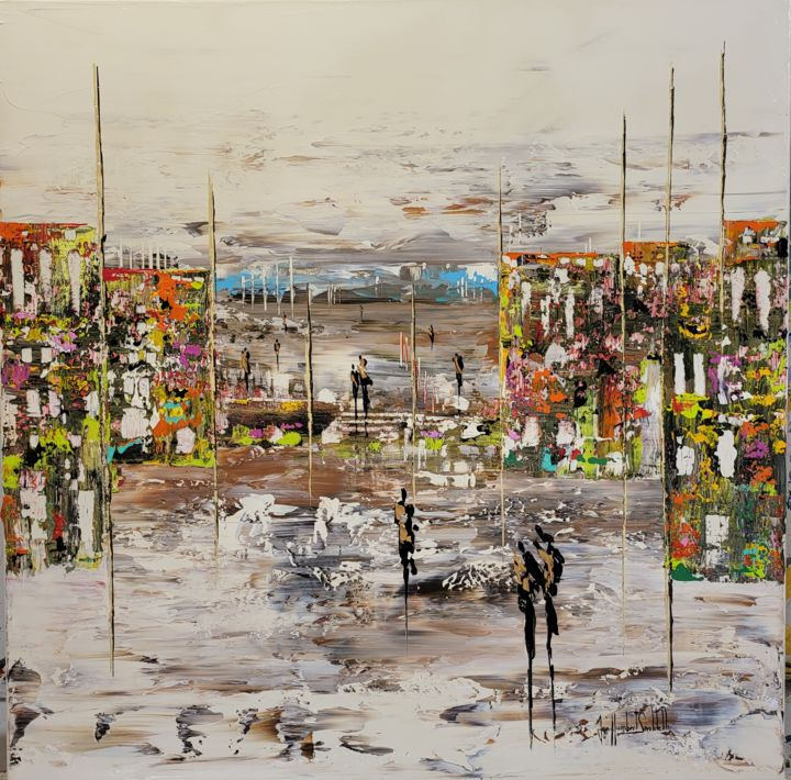 """Painting titled """"JARDINS D'HIVER"""" by Jean-Humbert Savoldelli, Original Art, Acrylic Mounted on Stretcher frame"""