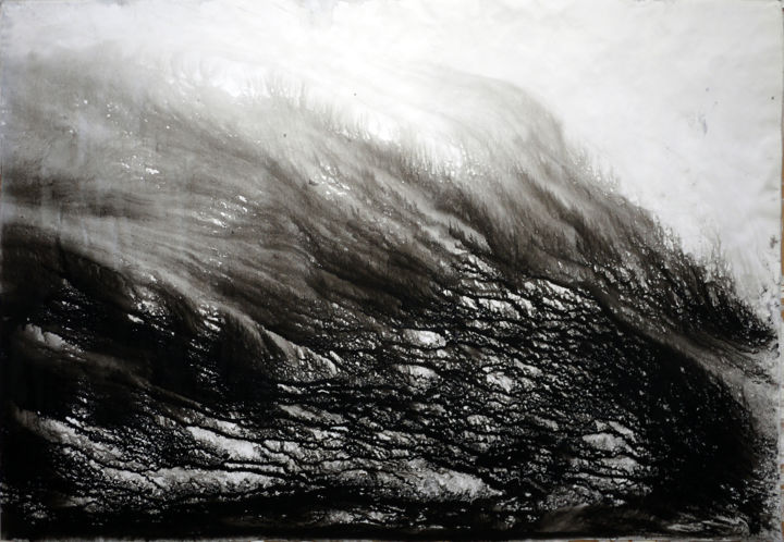 The thousands mountains passed by boat 軽舟已過万重山 - Painting,  55x78 cm ©2010 by JIANG Yi  江屹 -                                                                    Abstract Art, Paper, Aluminum, Water