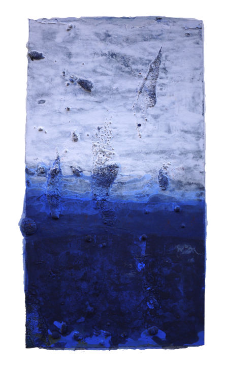 Collection abstract blue 抽象《蓝》系列之一 - Drawing,  28x16 cm ©2015 by JIANG Yi  江屹 -                                                            Abstract Art, Paper, World Culture, 综合材料