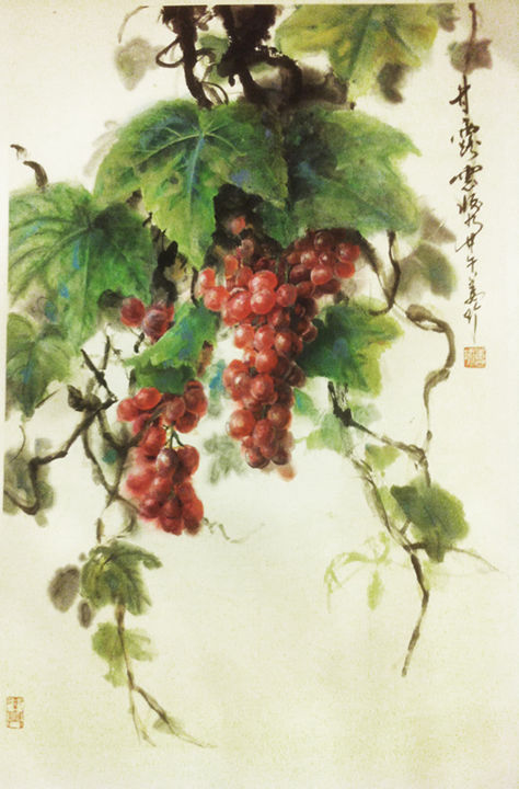 """Painting titled """"甘露"""" by Zhen Jiang, Original Art, Pigments"""