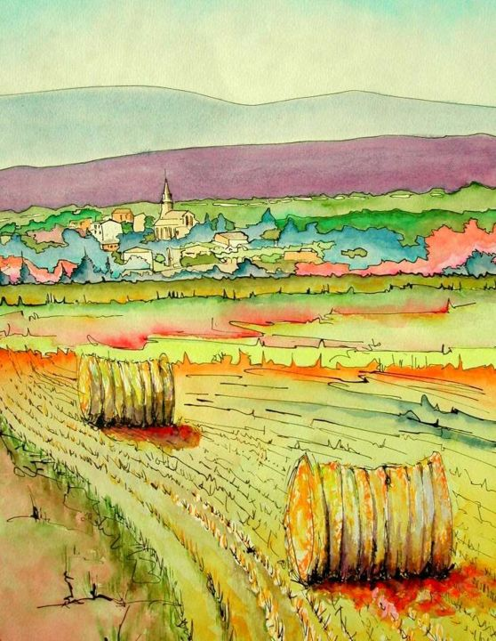 """Painting titled """"MOISSONS - MARCHES…"""" by Jean-Claude Waelput (Jicé), Original Art, Watercolor Mounted on Wood Panel"""