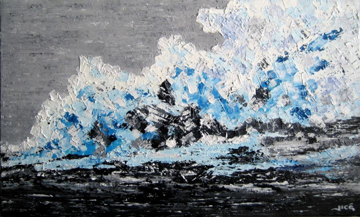 glacier - Painting,  33x55 cm ©2019 by Jicé -                            Abstract Art, glacier, glace, fonte