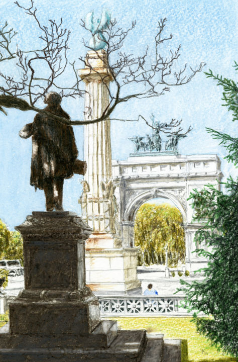 Grand Army Plaza, Brooklyn - Ζωγραφική,  10x7 in, ©2010 από Jim Fischer -                                                                                                                                                                                                                                                                      Figurative, figurative-594, Cityscape, brooklyn, colored pencil