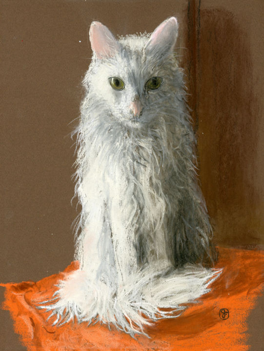 Galileo - Painting,  18x9x0.4 in, ©2018 by Jim Fischer -                                                                                                                                                                                                                                                                                                                  Figurative, figurative-594, Animals, pastel, animals, cat