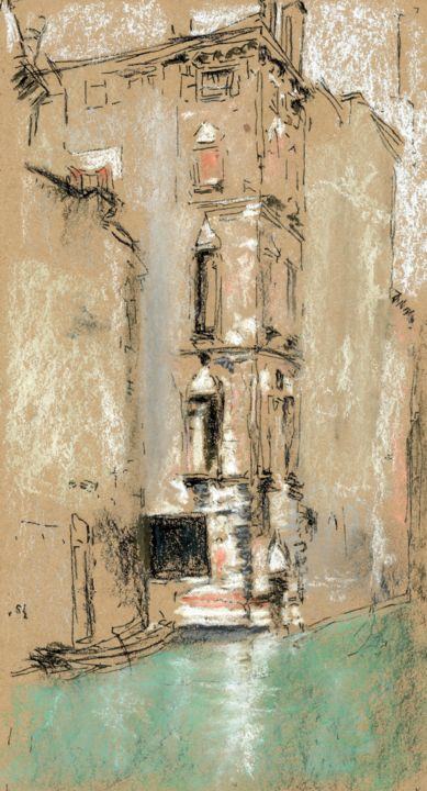 The Old Marble Palace - Painting,  11x7 in, ©2019 by Jim Fischer -                                                                                                                                                                                                                                                                                                                  Impressionism, impressionism-603, artwork_cat.Cityscape, Venice, Whistler, pastel