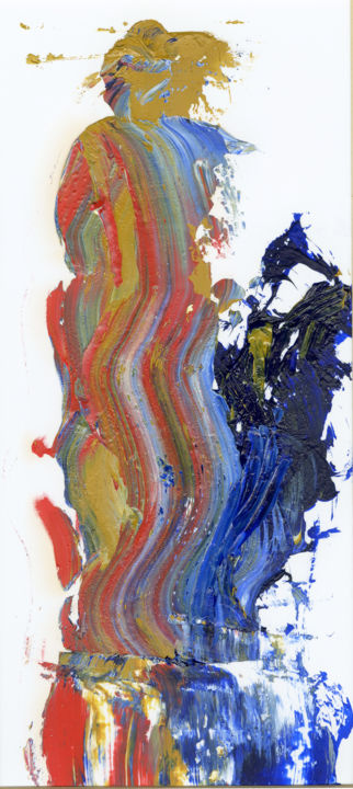 The Coat of Many Colors (see full title in comments) - Painting,  10x4.5x0.1 in, ©2020 by Jim Fischer -                                                                                                                                                                                                                                                                                                                  Expressionism, expressionism-591, Religion, Genesis, Joseph, Israel