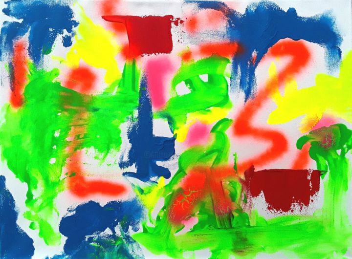 """Painting titled """"Neon Abstract(Utopi…"""" by Jim Richards, Original Art, Acrylic"""