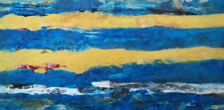 """Painting titled """"Abstract Blue and G…"""" by Jim Richards, Original Art, Acrylic"""