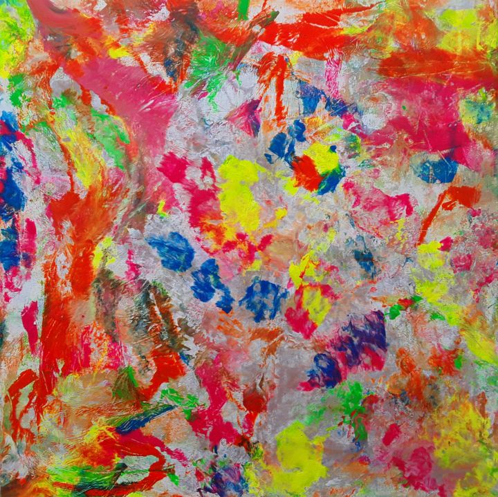 """Painting titled """"**SOLD** Neon Abstr…"""" by Jim Richards, Original Art, Acrylic"""