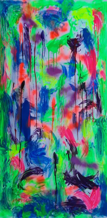 """Painting titled """"Large Neon Abstract…"""" by Jim Richards, Original Art, Acrylic"""
