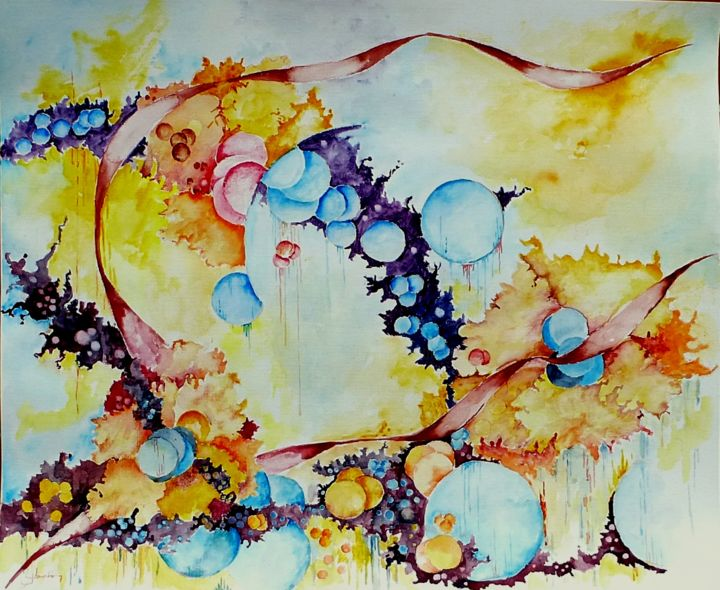 bubble-blooming. - Painting,  38x46 cm ©2018 by Jean Jourdan -                                                            Abstract Art, Paper, Abstract Art, aquarelle, abstrait, bulles