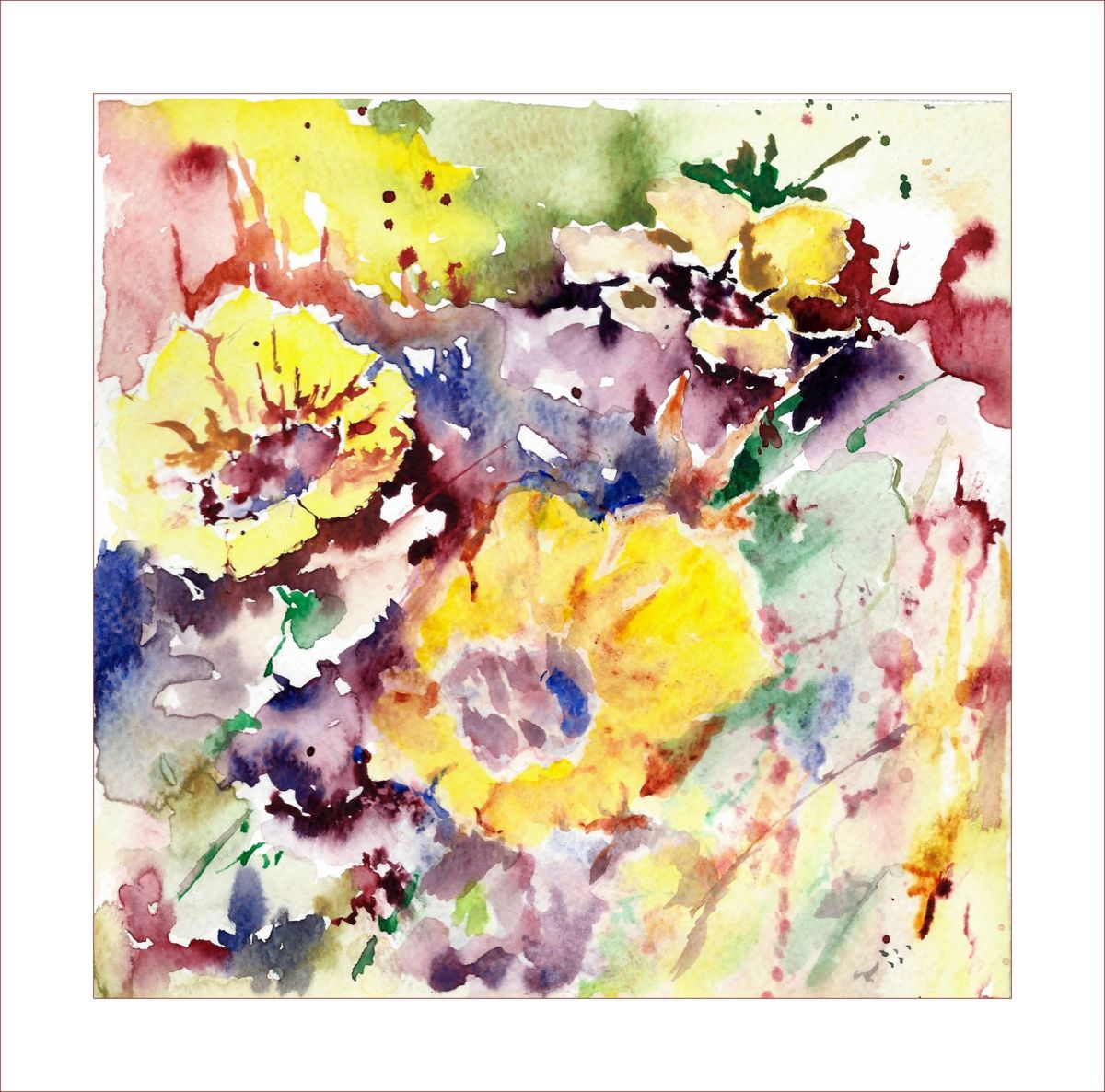 fleurs mêlées - Painting,  20x20 cm ©2014 by Jean Jourdan -                                                            Abstract Art, Paper, Flower, fleurs, aquarelle, abstrait