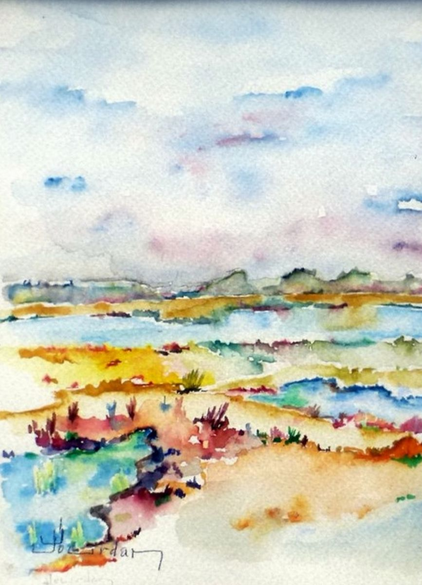 sansouires. - Painting,  24x18 cm ©2013 by Jean Jourdan -                                                            Abstract Art, Paper, Landscape, paysage, abstrait, aquarelle