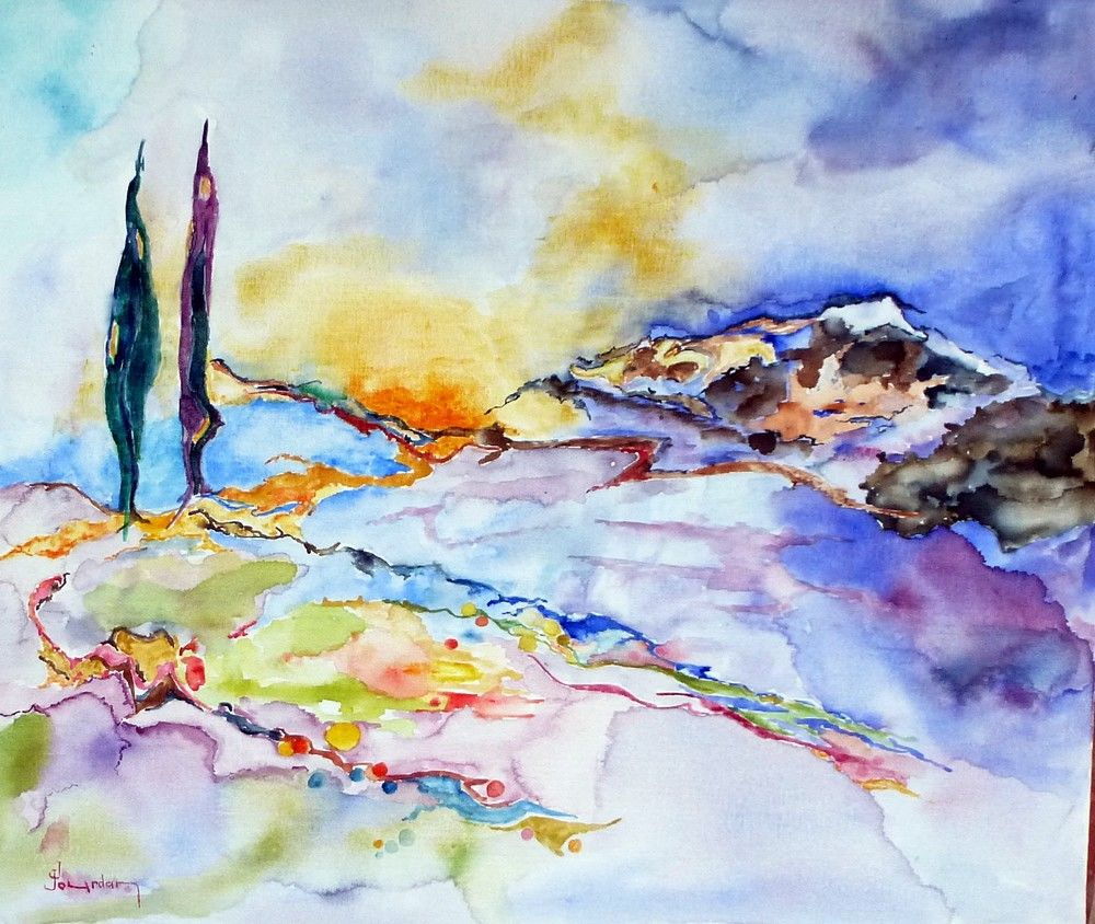 La chanson d'Orphée - Painting,  46x55 cm ©2013 by Jean Jourdan -                                                            Abstract Art, Canvas, Landscape, paysage, aquarellen, abstrait