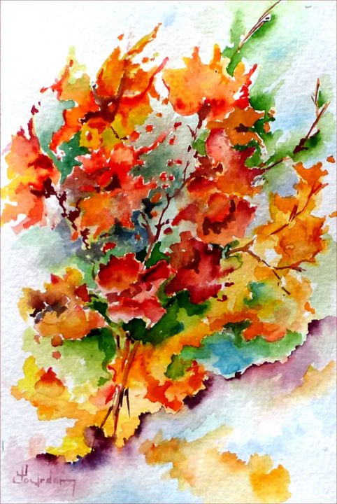 Bouquet de fleurs sauvages - Painting,  18x12 cm ©2018 by Jean Jourdan -                                                            Figurative Art, Paper, Flower, fleur, figuratif, aquarelle