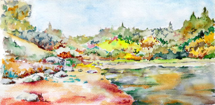 Un lac - Painting,  7.1x14.2 in, ©2018 by Jean Jourdan -                                                                                                                                                                                                                                                                                                                  Figurative, figurative-594, Landscape, paysage, couleur, aquarelle