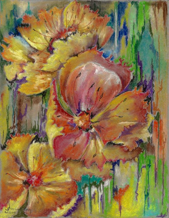 Au jardin - Painting,  24x18 cm ©2019 by Jean Jourdan -                                                            Abstract Art, Paper, Flower, fleur, pastel, sec, abstrait!