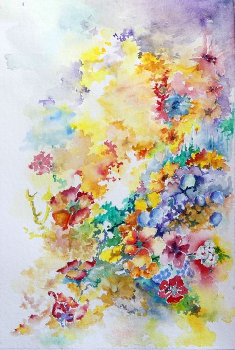 mixed border - © 2019 fluer, aquarelle, figuratif Online Artworks