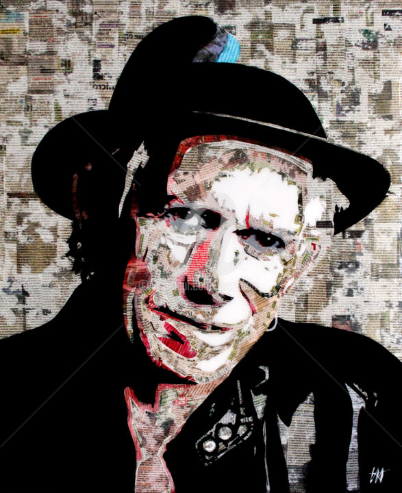 Keith Richards paper / 2 - Collages,  29.9x24 in, ©2019 by Jean-Jacques Venturini -                                                                                                                          Figurative, figurative-594