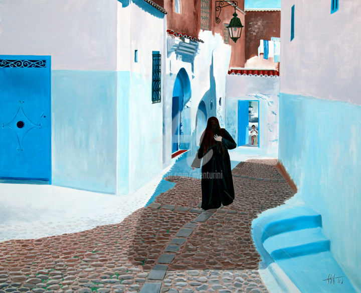 8 mars à Chefchaouen - Painting,  31.9x39.4 in, ©2010 by Jean-Jacques Venturini -