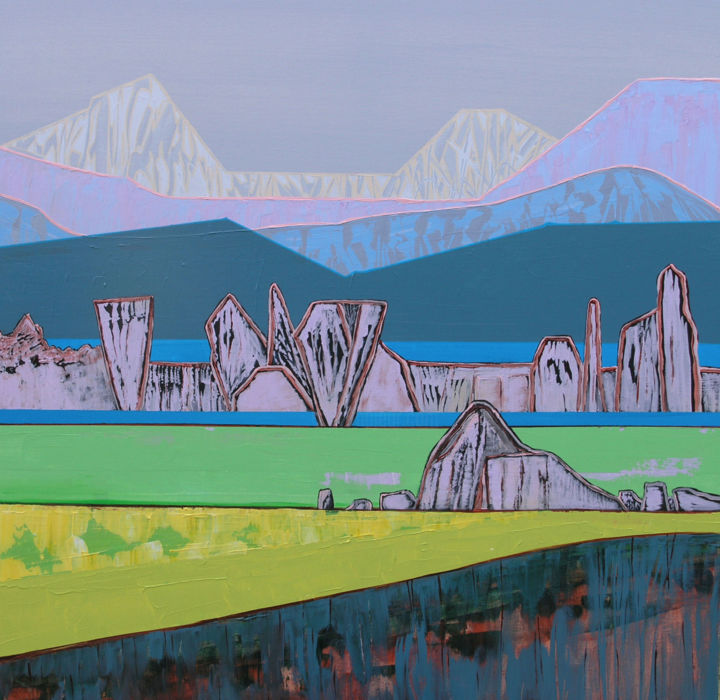 """Painting titled """"Over the Hills and…"""" by Loretta Kaltenhauser, Original Art, Acrylic Mounted on Stretcher frame"""