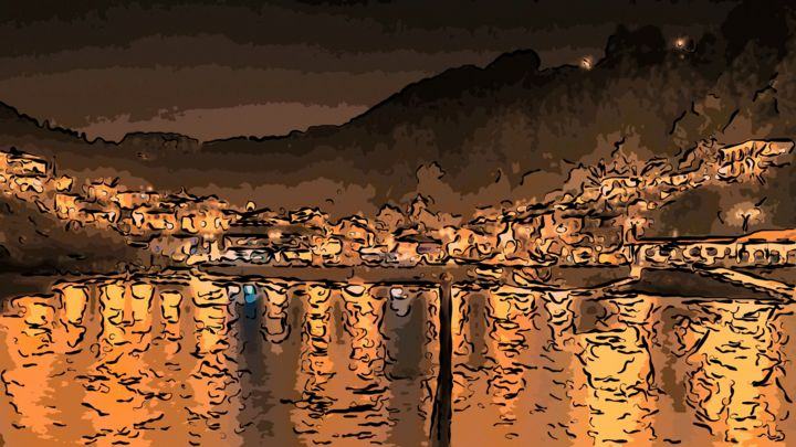 Nightime In The Harbor - ©   Online Artworks