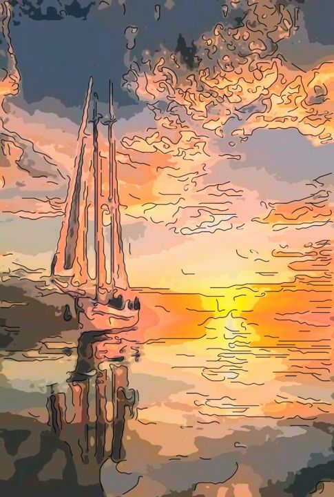 Early Morning Sail - Digital Arts ©2019 by jack cash jr -                                            Impressionism, Seascape, sail, early morning, impressionism