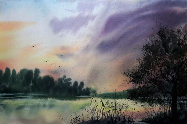 """Painting titled """"A place that is not…"""" by Julia Kochetova, Original Art, Watercolor"""