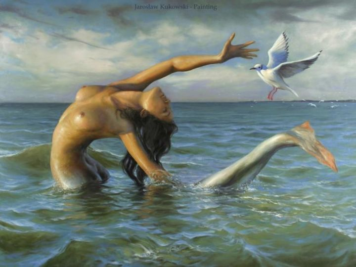 The Last Baltic Mermaid Catching Bird Flu - Painting,  120x160 cm ©2006 by Jaroslaw Kukowski -            Jarosław Kukowski, oil on board, price list, cena