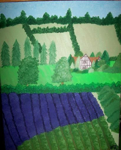 """Painting titled """"The Lavender Fields…"""" by J.Leigh, Original Art,"""