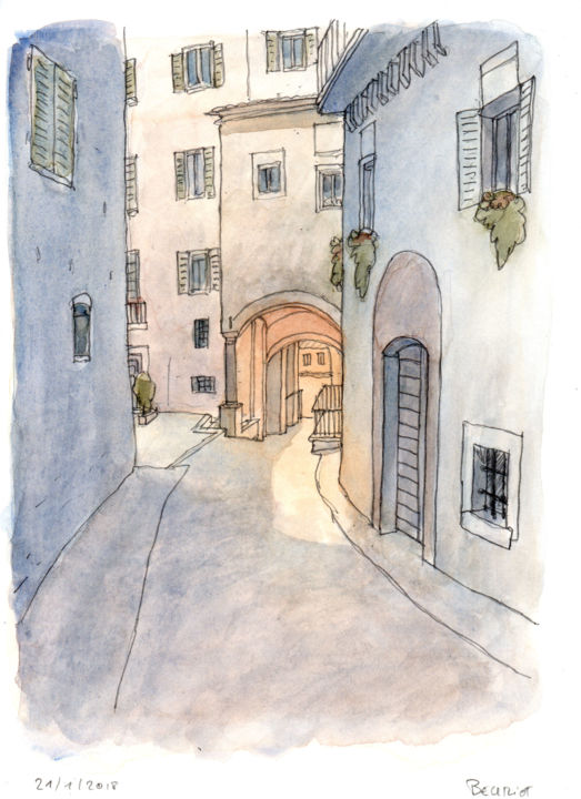 """Drawing titled """"Seville"""" by Jean-Michel Beuriot, Original Art, Watercolor"""