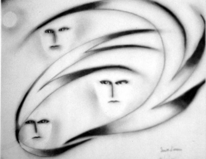 3 personnages - Painting ©2006 by Jean Marc D'ambra -