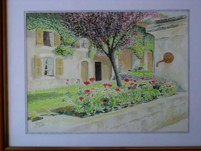 la fontaine fleurie (aquarelle) - Painting,  15.8x11.8 in ©2003 by JMMIXT -