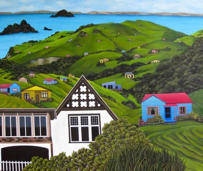 """Painting titled """"New Zealand Coroman…"""" by Jacqueline Moses, Original Art, Oil"""