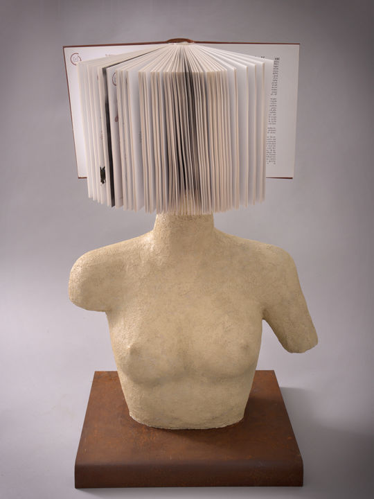 """Mémoire de Femme"" - Sculpture,  30.3x19.7x15.8 in, ©2019 by piCrate -                                                                                                                                                                                                                                                                                                                                                                                                                                                                                                                                                                                                                                      Abstract, abstract-570, Abstract Art, Body, Women, People, mémoire, femme, buste, ivoire, livre, tête, corps de femme"