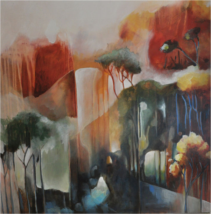Contre vents et marées - Painting,  39.4x39.4x1.2 in, ©2020 by Jean-Michel Rackelboom -                                                                                                                                                                                                                                                                                                                                                                                                                                                                                                                                                                                                                                                                                  Symbolism, symbolism-1020, Landscape, mouvement, ondulation, arbre, nature, incendie, tempête, ouragan, ruissellement, symbole, humain, végétal