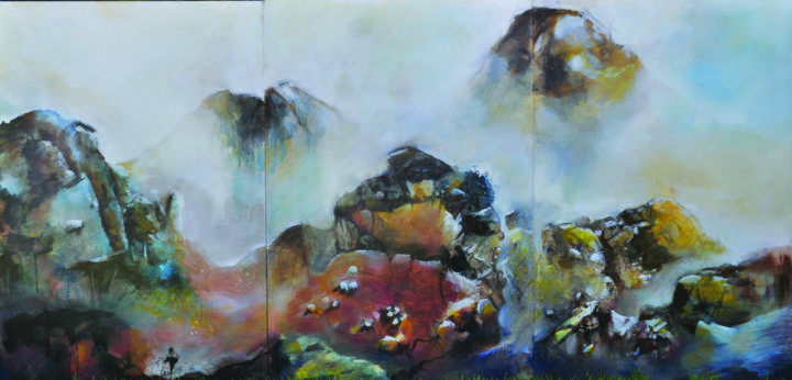 Le passage du Temps - Painting,  47.2x94.5x1.2 in, ©2014 by Jean-Michel Rackelboom -                                                                                                                                                                                                                                                                                                                                                                                                                                                                                                                                                                                                                                                                                  Symbolism, symbolism-1020, Nature, Landscape, air, espace, rochers, pierres, feu, eruption, volcan, montagne, transparence, brume