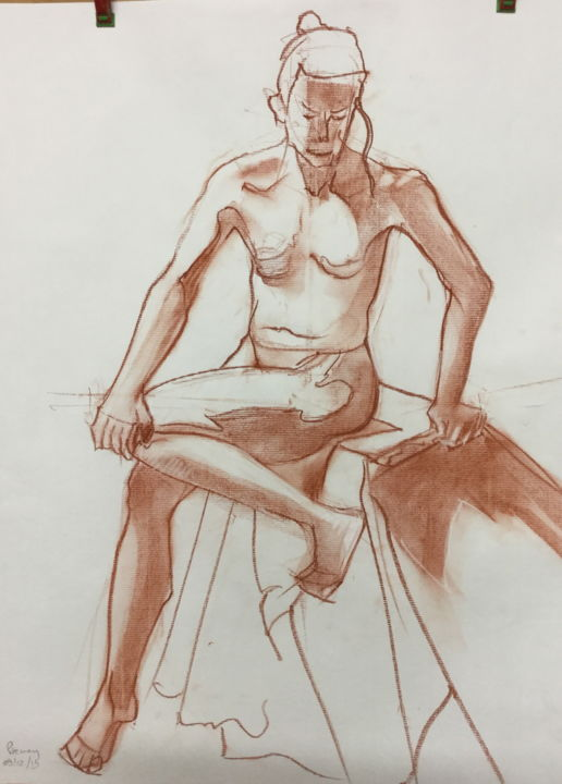 étude de nue - Drawing,  25.6x19.7x0.4 in, ©2019 by Brasier Jeanoel -                                                                                                                                                                          Figurative, figurative-594, Nude
