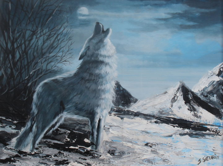 Le loup - Painting,  40x30 cm ©2018 by JOELLE SIEURIN -                                                        Realism, Canvas, Animals