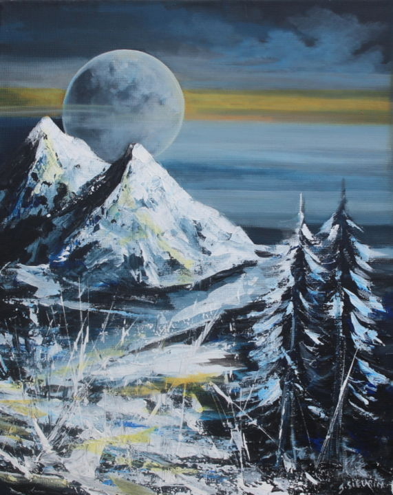 Montagnes - Painting,  50x40 cm ©2019 by JOELLE SIEURIN -                                                        Surrealism, Canvas, Nature
