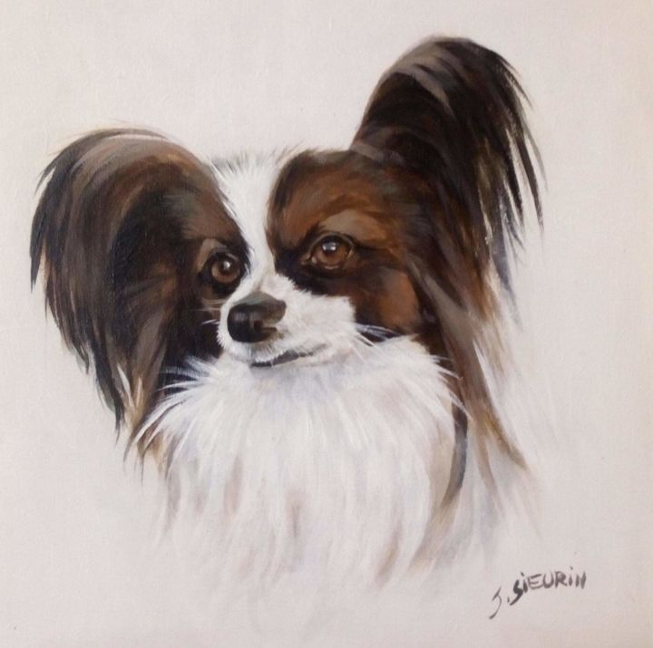 Le toutou à Chantal - Painting,  20x20 cm ©2019 by JOELLE SIEURIN -                                                        Realism, Wood, Animals
