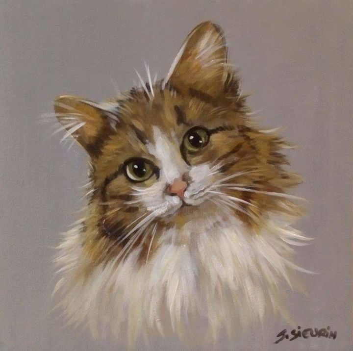 Un chat - Painting,  20x20 cm ©2019 by JOELLE SIEURIN -                                                        Realism, Wood, Animals