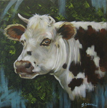 Une belle normande - Painting ©2019 by JOELLE SIEURIN -                                                        Realism, Canvas, Animals