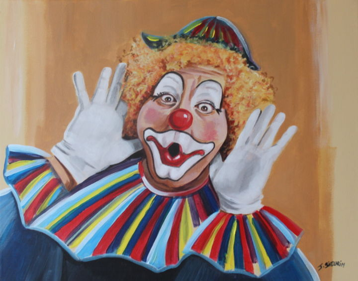 Le clown joyeux - Painting,  40x50 cm ©2019 by JOELLE SIEURIN -                                                            Realism, Canvas, People, clown, rire, spectacle, peinture, acrylique, peintre, toile, couleurs
