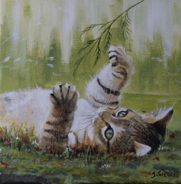 Le chaton.jpg - Painting,  20x20 cm ©2019 by JOELLE SIEURIN -                                                        Figurative Art, Canvas, Animals