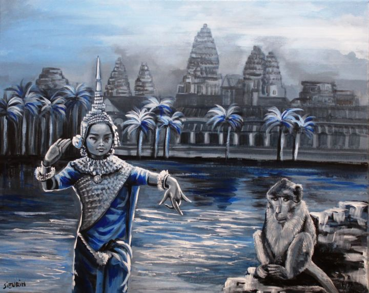 Temples d'Angkor - Painting,  40x50 cm ©2018 by JOELLE SIEURIN -                                                        Figurative Art, Canvas, Performing Arts