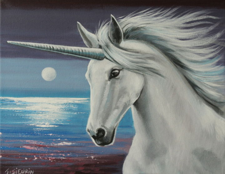 Licorne - Painting,  24x30 cm ©2019 by JOELLE SIEURIN -                                                            Figurative Art, Canvas, Animals, animaux, peinture, licorne, artiste, cheval