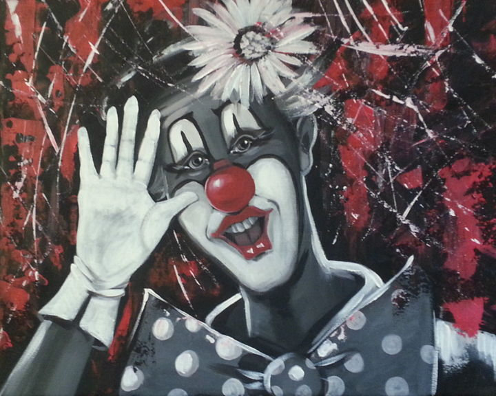 Le clown - Painting,  50x40.5 cm ©2017 by JOELLE SIEURIN -                                                        Figurative Art, Canvas, People