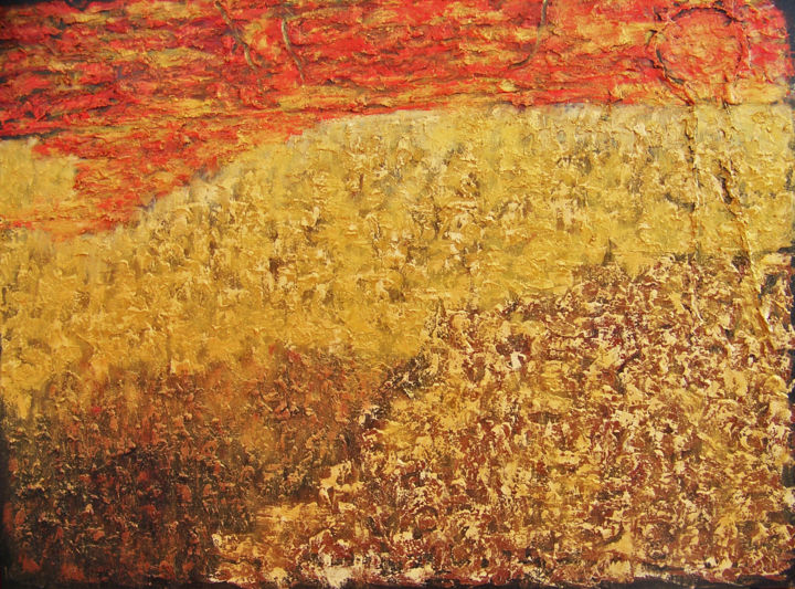 Gold Rush - Painting,  30x40x1.5 in ©2017 by jo moore -                                                                                                                                                                        Abstract Art, Abstract Expressionism, Contemporary painting, Expressionism, Minimalism, Canvas, Abstract Art, Colors, Landscape, Light, Nature, Spirituality, texture, impasto, color field, landscape, minimalism